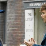 David Yates talks with Eddie Redmayne in the Fantastic Beasts' set