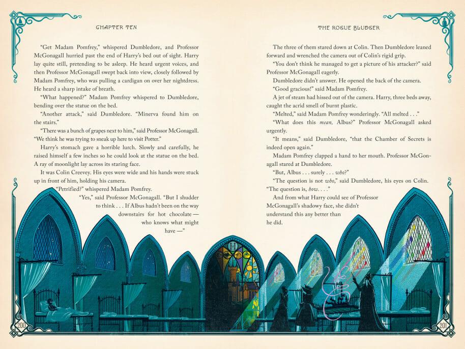 A ala hospitalar de Hogwarts em Harry Potter e a Câmara Secreta, ilustrada pelo estúdio MinaLima
