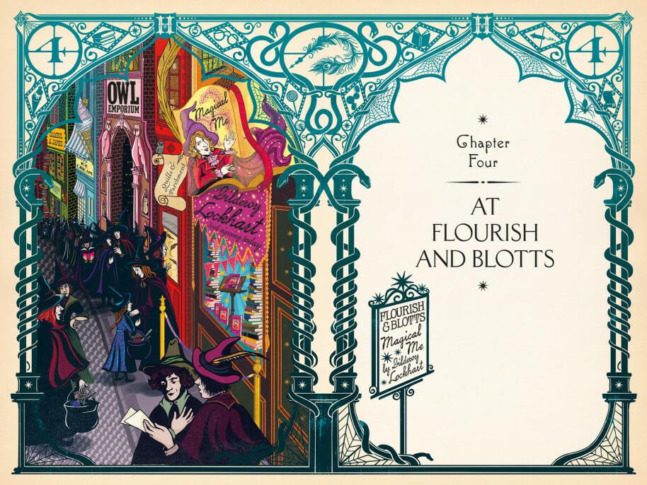 A loja Floreios & Borrões em Harry Potter e a Câmara Secreta, ilustrada pelo estúdio MinaLima