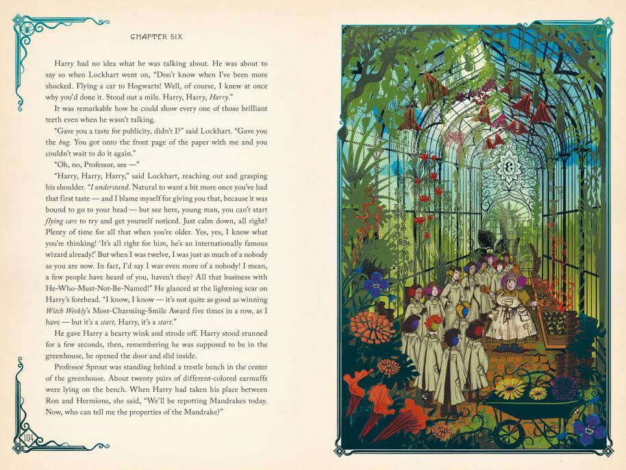 Aula de Herbologia na estufa em Harry Potter e a Câmara Secreta, ilustrada pelo estúdio MinaLima