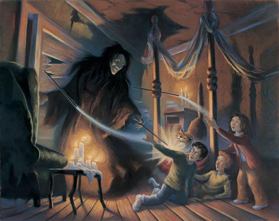 Harry, Rony e Hermione são ameaçados por Sirius Black